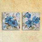 """Модульная картина на стекле """"Голубые цветы"""", 28×28 см"""