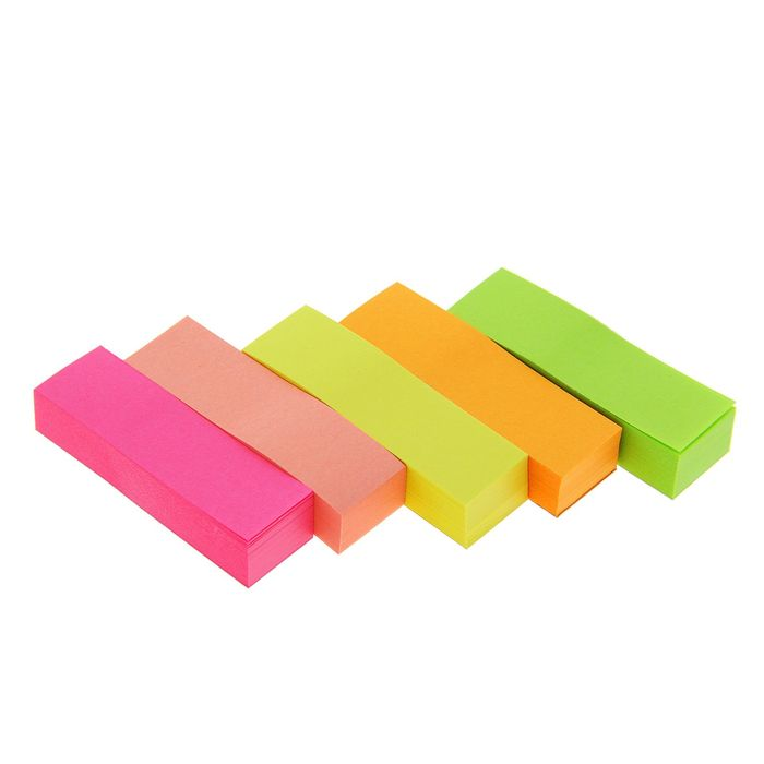 Блок-закладка с липким краем 100л*5 50мм*15мм в пакете МИКС