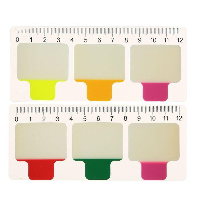 Блок-закладка с липким краем пластик 20л*3 38х38мм флуор в блистере МИКС