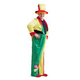 """Карнавальный костюм """"Клоун"""", шляпа с волосами, комбинезон, пиджак, р-р 50-54"""