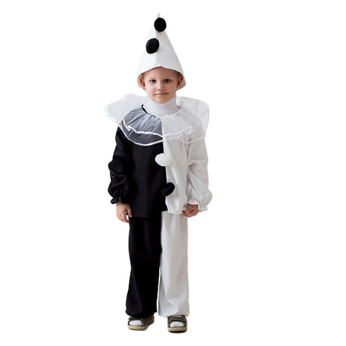 """Карнавальный костюм """"Пьеро"""", колпак, воротник, кофта, штаны, 3-5 лет, рост 104-116 см"""
