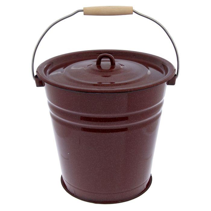 Ведро с крышкой, 12 л, цвет коричневый