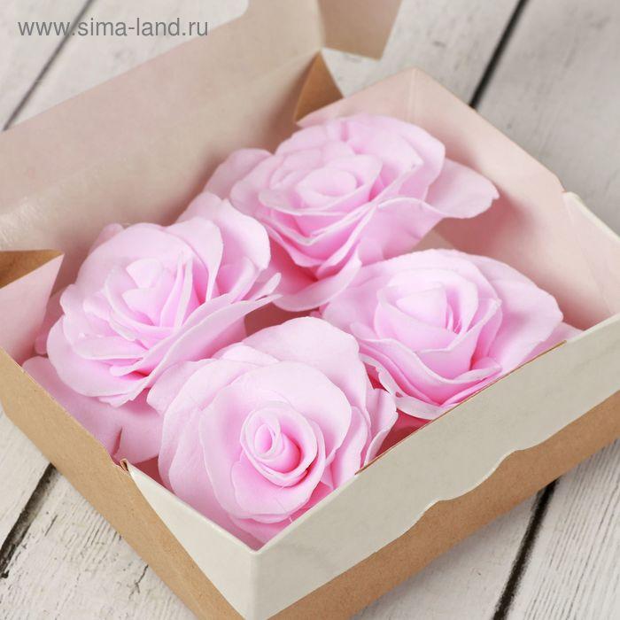 Набор роз из фоамирана 4 шт в коробочке светло-розовые