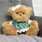 """Мягкая игрушка """"Медвежонок, девочка в цветочек"""", 15 см"""