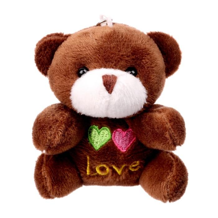 Мягкая игрушка-подвеска «Мишка», два сердца, цвета МИКС