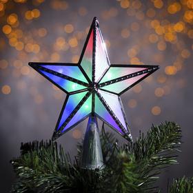 "Фигура ""Звезда серебр. ёлочная"" 15Х15 см, пластик, 10 LED, 2 метра провод,240V МУЛЬТИ"