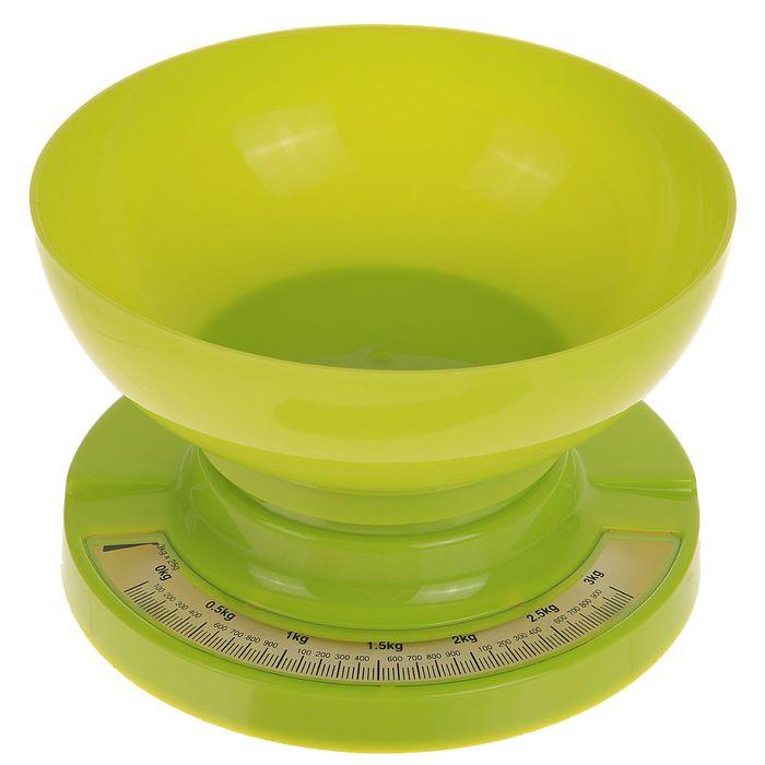 Весы кухонные LuazON, до 3 кг, шаг 20 г, чаша 1л, зеленые