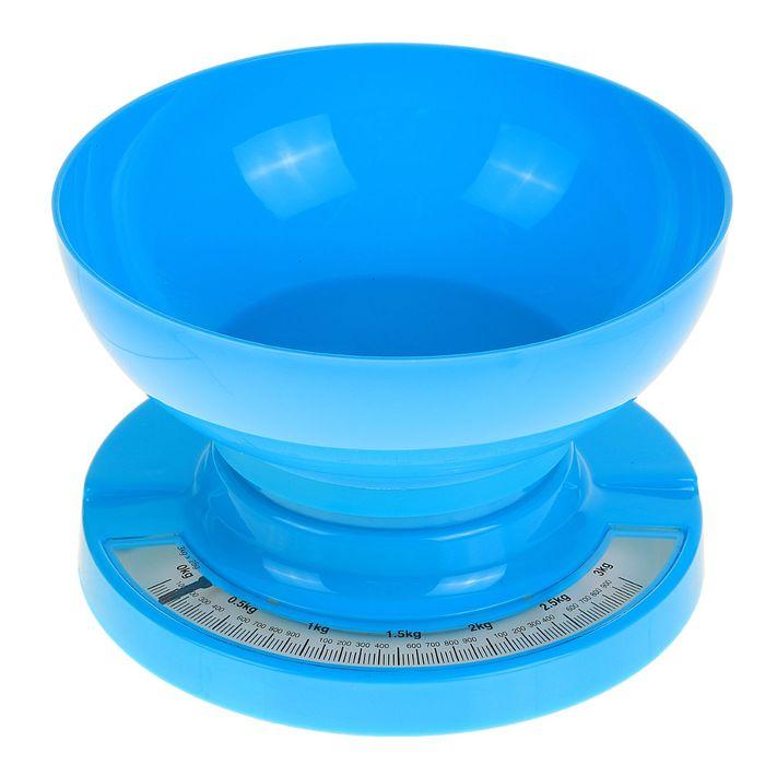 Весы кухонные LuazON, до 3 кг, шаг 20 г, чаша 1л, синие