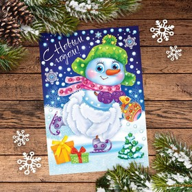 """Christmas applique with feathers and rhinestones """"the Snowman"""""""