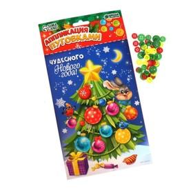 Новогодняя аппликация пуговками «Чудесного Нового Года!», ёлочка