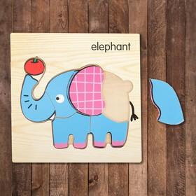 Пазл-вкладыш на деревянном основании ' Слон' Ош