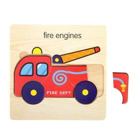 Пазл-вкладыш на деревянном основании 'Пожарная машина' Ош