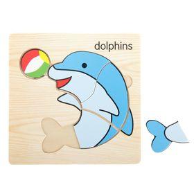 Пазл-вкладыш на деревянном основании 'Дельфин' Ош