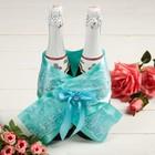 """Одежда для шампанского """"Бант кружевной свадебный"""""""
