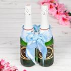 """Одежда для шампанского """"Бант свадебный с вишенкой"""", голубая"""
