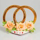 """Украшение на крышу """"Кольца с цветами"""", персиковые цветы"""