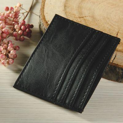 Футляр для карточек, двусторонний, с карманом, цвет чёрный