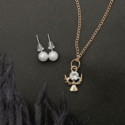 """Гарнитур 2 предмета: серьги, кулон """"Ангел"""", цвет белый в золоте, 43см"""