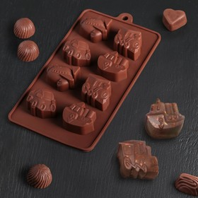 """Форма для льда и шоколада """"Машинки"""", 8 ячеек, цвета МИКС"""