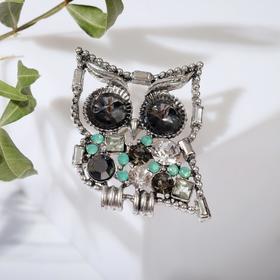 """Брошь """"Сова"""", большие глаза, цвет серо-зелёный в серебре"""