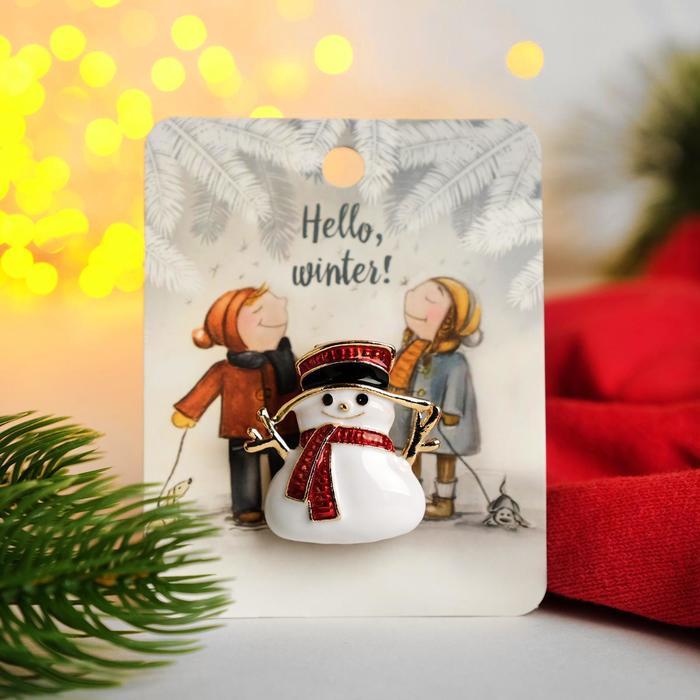 """Брошь """"Новогодняя сказка"""" снеговичок, цветная в золоте"""