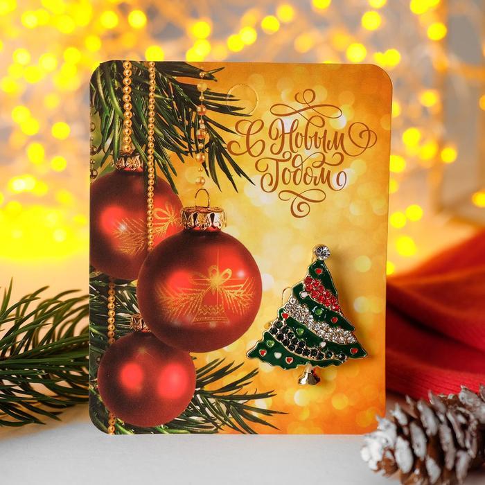"""Брошь новогодняя """"Ёлочка"""", разноцветная в золоте - фото 7471244"""