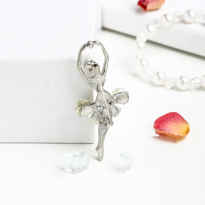 """Брошь """"Балерина в танце"""", цвет белый в серебре - фото 297522735"""