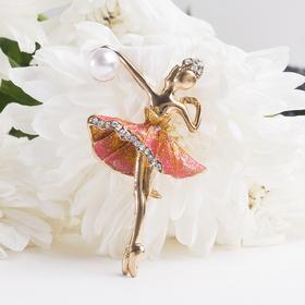 """Брошь """"Балерина с мячом"""", цвет разноцветный в золоте"""