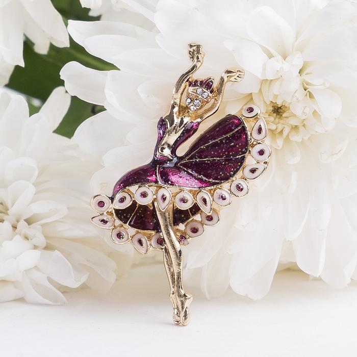 """Брошь спортивная """"Балерина танцовщица"""", цвет бело-фиолетовый в золоте"""