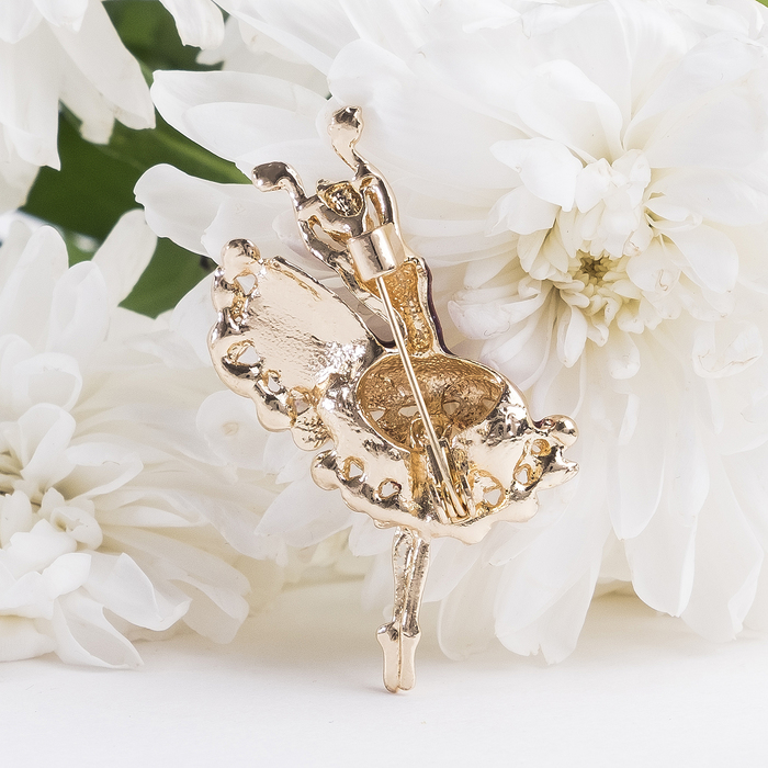 """Брошь """"Балерина танцовщица"""", цвет бело-фиолетовый в золоте - фото 297522743"""