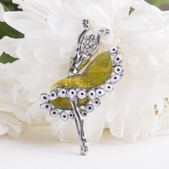 """Брошь """"Балерина танцовщица"""", цвет жёлтый в серебре - фото 301002330"""