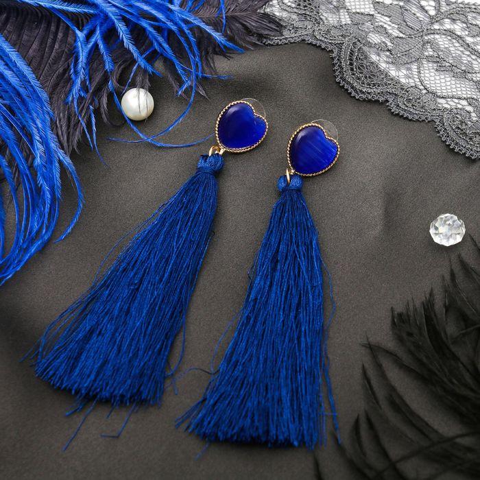 """Серьги ассорти """"Кисти"""" яркий образ, сердце, цвет синий в золоте - фото 797829716"""