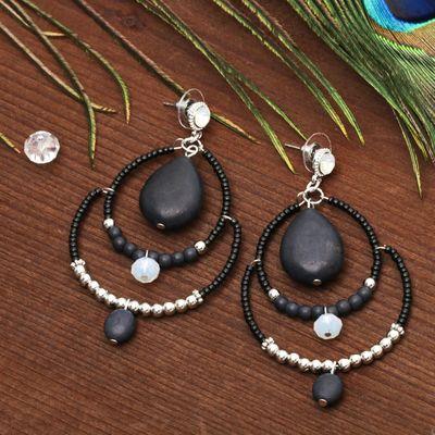 """Серьги """"Капля"""" вдохновение, цвет чёрный в серебре"""