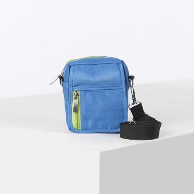 Bag mens belt, 2 Department, 2 outside pocket, long strap, color bright blue