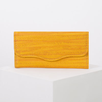 Wallet women on the valve, 2 section for coins, color yellow