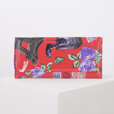 Wallet women on the valve, 2 section for coins, color red