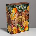 Складная коробка «Зимние мандарины», 22 × 30 × 10
