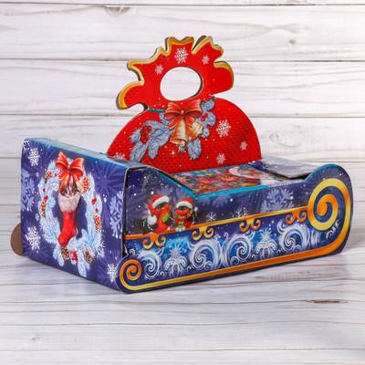 Складная коробка «Снегири на санях», 23.5 × 14.5 × 18 см