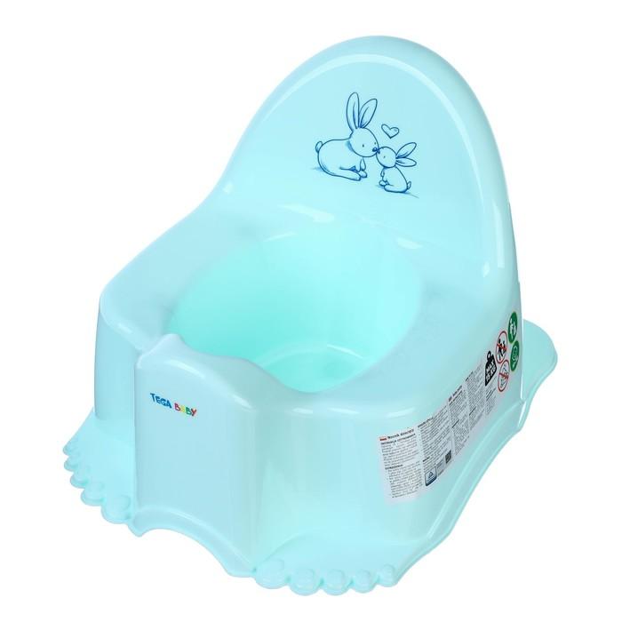Горшок детский «Кролики», цвет нежно-бирюзовый