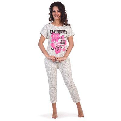 Комплект женский (футболка, бриджи) Калифорния цвет серый, р-р 52
