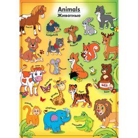 Обучающий плакат 'Животные на английском языке' А4 Ош