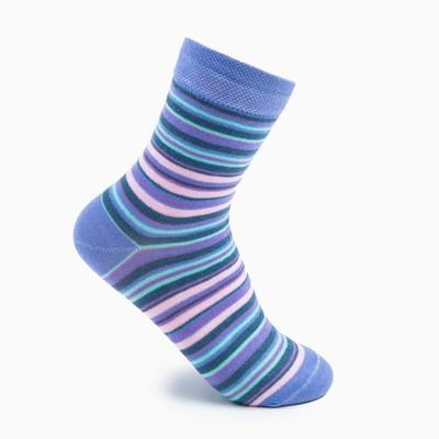 Носки женские, цвет голубые полоски, размер 23-25