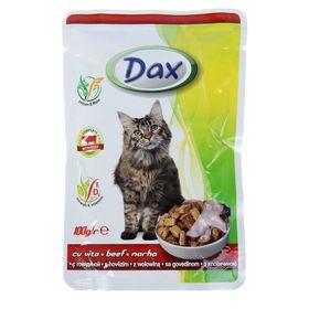Влажный корм DAX для кошек, кусочки говядины в соусе, пауч, 100 г Ош