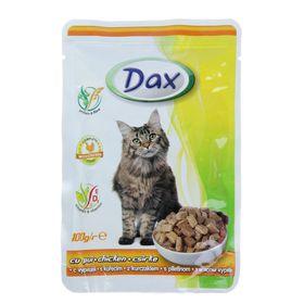 Влажный корм DAX для кошек, кусочки курицы в соусе, пауч, 100 г Ош