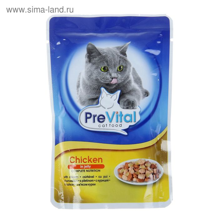 Влажный корм PreVital для кошек, курица в желе, пауч, 100 г