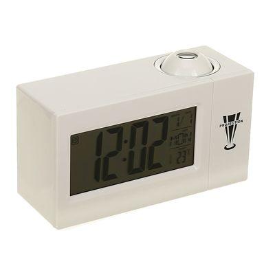 Часы-будильник LuazON LB-13, с проектором, вход DC, белый
