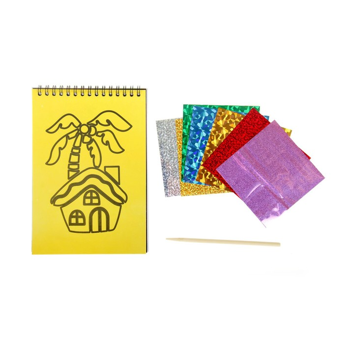 Фреска фольгой, гравюры, раскраска - альбом, 8 страниц, стека, цвета голубой
