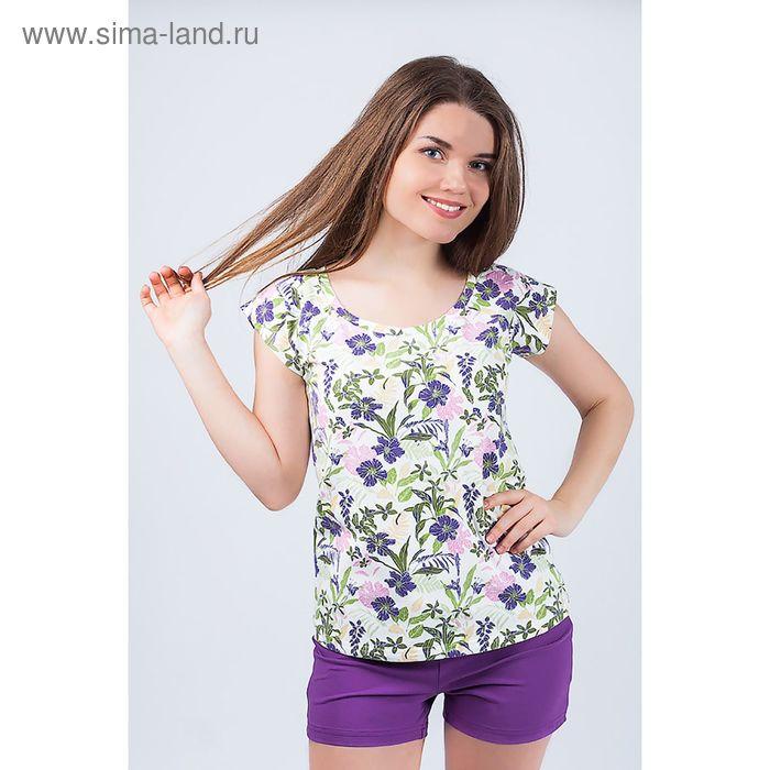 Комплект женский (футболка, шорты) 8829 цвет фиолетовый, р-р 50