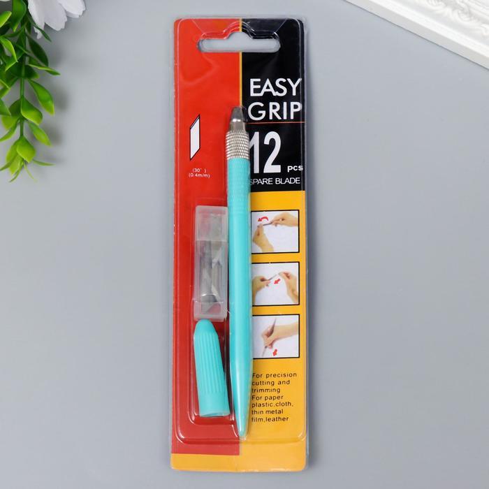 Инструмент для творчества нож + 12 лезвий пластик, металл 14 см 19,5х5,5 см