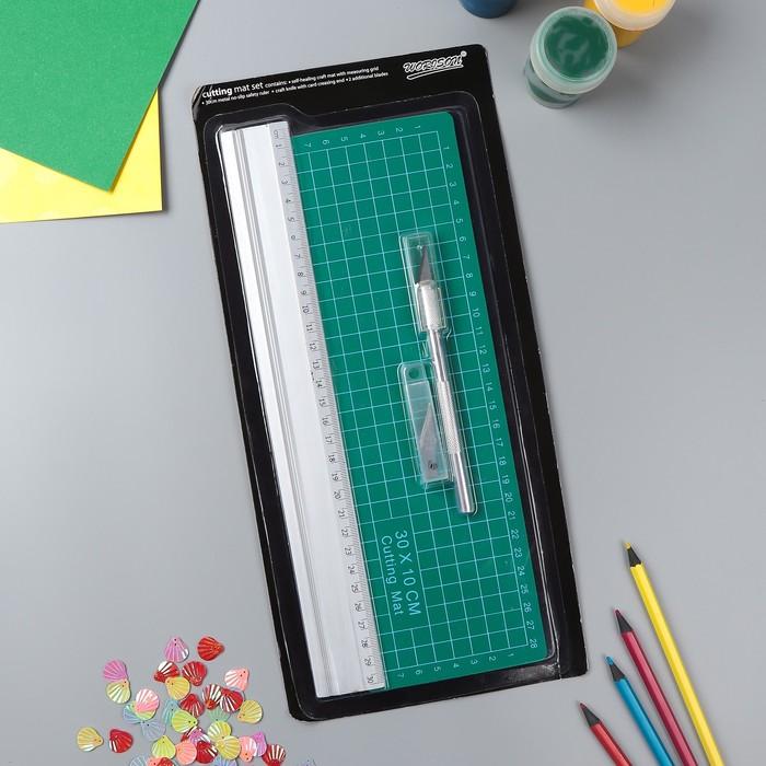 Набор инструментов для творчества: нож 4+1 лезвий, линейка, мат 30х10 см, 34,7х16,3 см